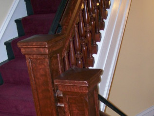 Custom wood graining of old railings and spindles